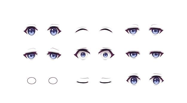 애니메이션 만화 소년 표정 눈 세트
