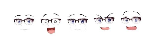 Аниме манга мальчик в очках выражения глаз набор
