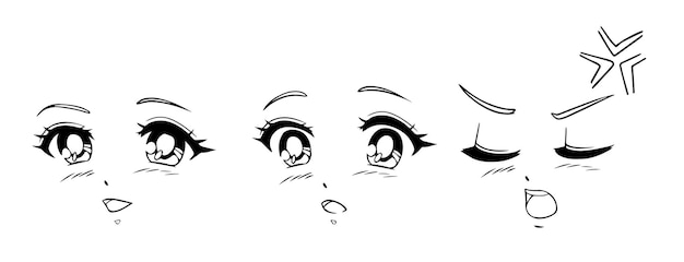 Anime and manga faces set. different expressions. hand drawn vector illusration.