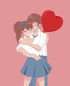 アニメマンガの女の子と男が抱き締めます。バレンタイン・デー