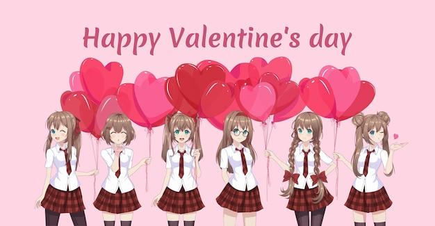 Девушка из аниме-манги держит воздушные шары в форме сердца