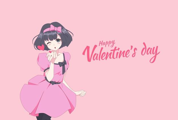 Девушка из аниме-манги посылает воздушный поцелуй. открытка на день святого валентина