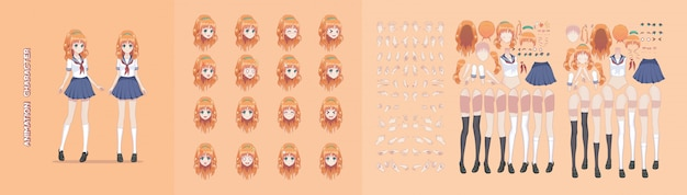 Anime manga girl character animation motion design