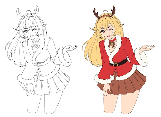 Anime manga girl dressed in santa claus costume showing product empty copy space on open hand palm