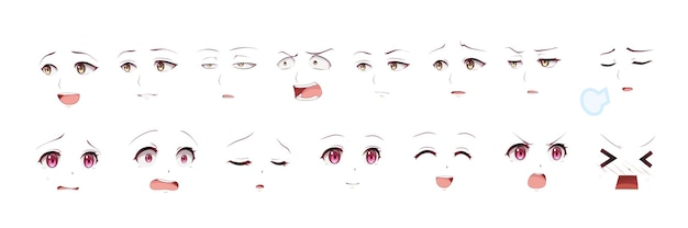 Набор выражений глаз девушки аниме манга