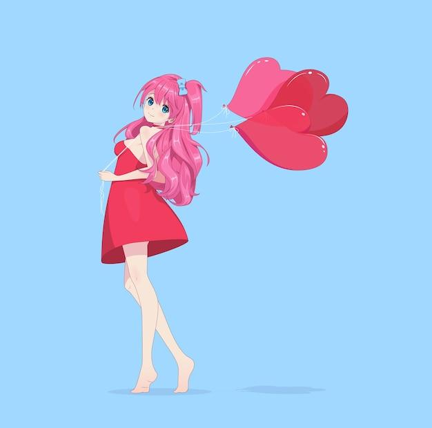Девушка аниме манга в платье держит воздушные шары сердца