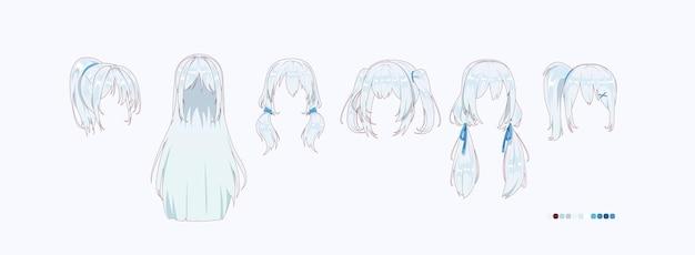Прически аниме манга, изолированные на белом фоне