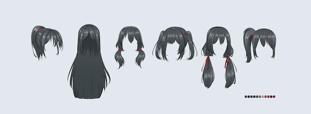 Прически аниме манга. установите изолированный парик в волосы.