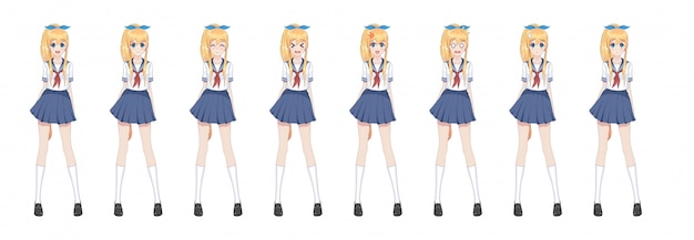 Anime manga schoolgirl in sailor suit, blue skirt