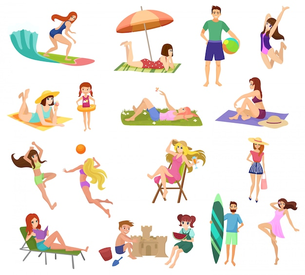 Anime style beautiful young people and kids set on beach isolated. playing, jogging, surfing and relaxing.