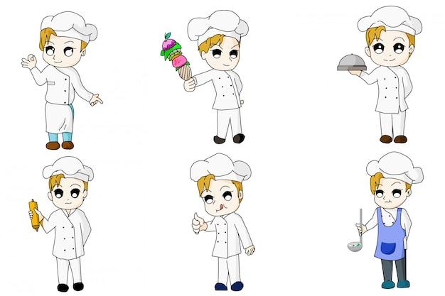 Дизайн персонажей мультфильма шеф-повара в стиле аниме Premium векторы