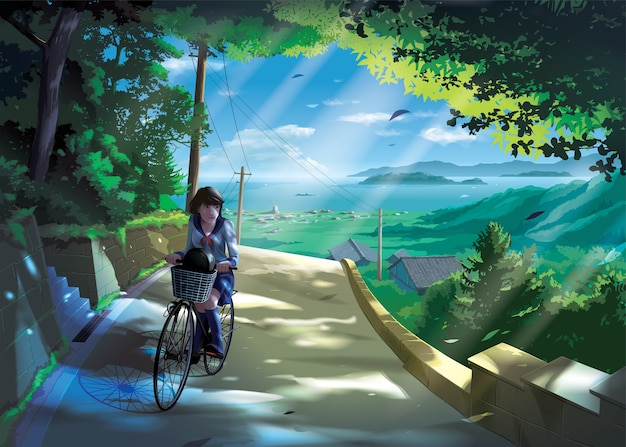 Anime style of a japanese girl student rides a bicycle on a road in the countryside