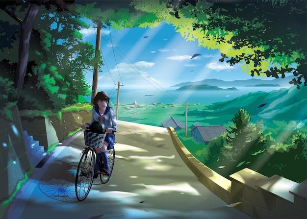 일본 여자 학생의 애니메이션 스타일이 시골 길에서 자전거를 타다.