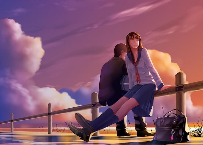 В стиле аниме молодые японские студенты вместе отдыхают в гавани вечером