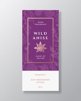 아니스 스파이스 홈 향수 추상 레이블 템플릿입니다. 손으로 그린 스케치 꽃, 잎 배경 및 복고풍 타이포그래피.