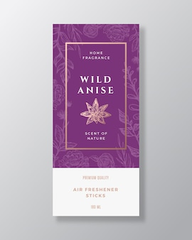 Anise spice home fragrance abstract  label template. hand drawn sketch flowers, leaves background and retro typography.