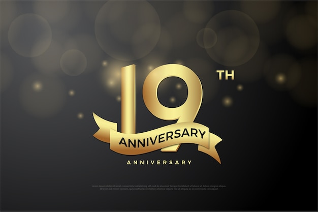 Aniversary of the nineteenth with a threedimensional figure that is golden in color