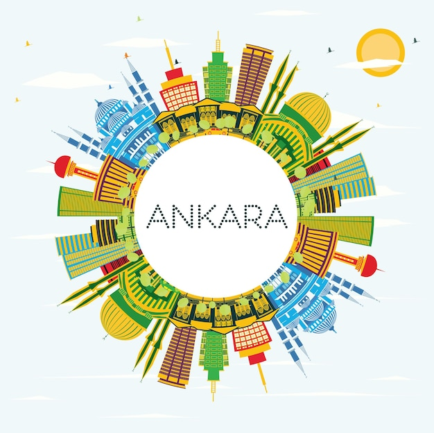 Ankara turkey city skyline with color buildings, blue sky and copy space. vector illustration. business travel and tourism concept with historic buildings. ankara cityscape with landmarks.