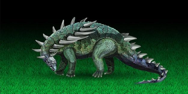 Динозавр анкилозавр в реалистичном стиле животное юрского периода, похожее на вектор дракона ...