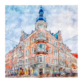 アナンカトゥヘルシンキ水彩スケッチ手描きイラスト
