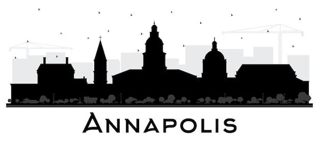 Силуэт горизонта города аннаполис мэриленд с черными зданиями, изолированными на белом