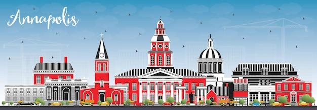 Горизонты города аннаполис мэриленд с цветными зданиями и голубым небом. векторные иллюстрации. деловые поездки и концепция туризма с исторической архитектурой. городской пейзаж аннаполиса сша с достопримечательностями.