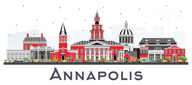 Горизонты города аннаполис мэриленд с зданиями цвета изолированные на белизне. векторные иллюстрации. деловые поездки и концепция туризма с исторической архитектурой. городской пейзаж аннаполиса сша с достопримечательностями.