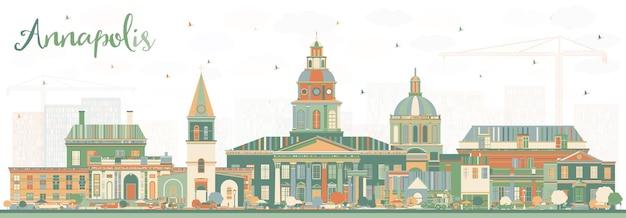 Горизонты города аннаполис мэриленд с цветными зданиями. векторные иллюстрации. деловые поездки и концепция туризма с исторической архитектурой. городской пейзаж аннаполиса сша с достопримечательностями.