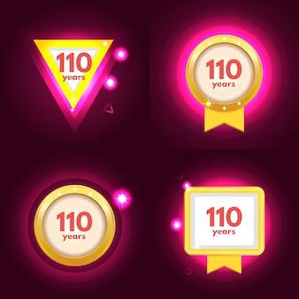 Anniversary 110 icons set