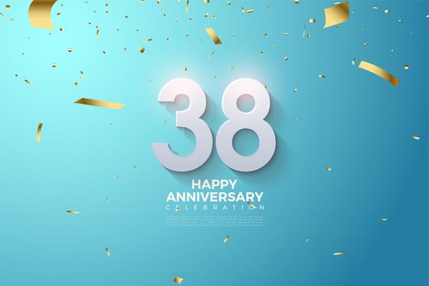희미한 3d 숫자가있는 기념일 15