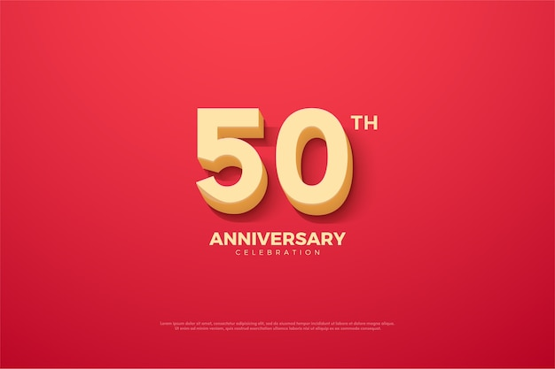 Anniversary background is red with raised threedimensional numbers