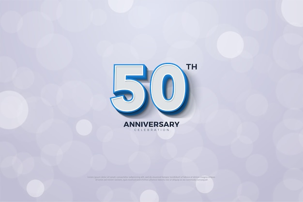 Anniversary background with numbers and a blue line on the edge of the number