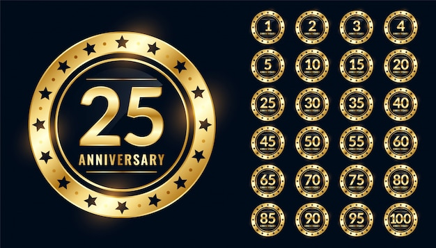 Anniversary badge big set in premium golden colors