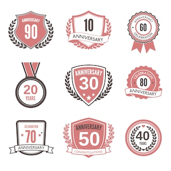 Anniversary badge or label set