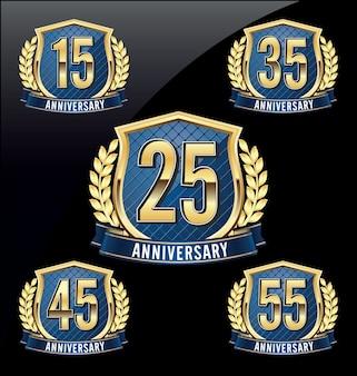 Anniversary badges. set of four luxury anniversary badges.