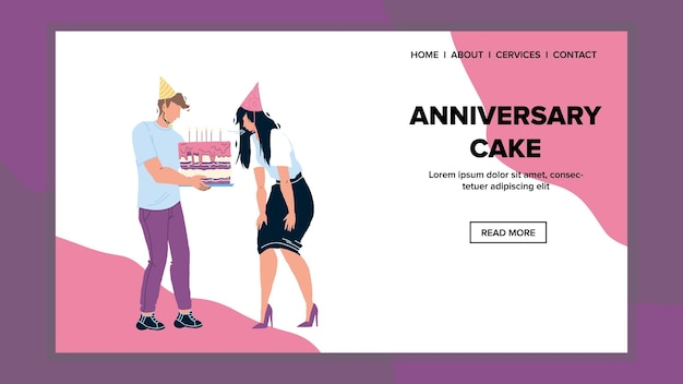 Anniversary cake candles blow birthday girl vector. anniversary cake dessert holding man and presenting birth woman. characters celebration party with friends web flat cartoon illustration