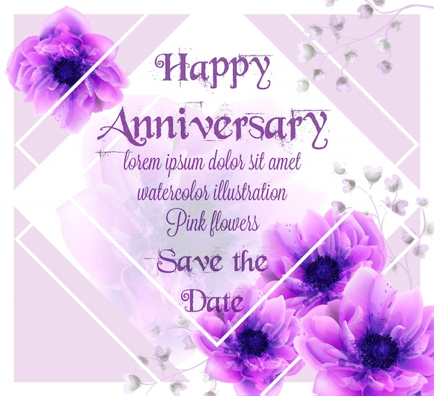Anniversary card with pink flowers watercolor
