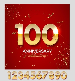 Anniversary celebration decoration. golden number 100 with confetti, glitters and streamer ribbons