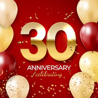 Anniversary celebration decoration, golden number 30 with confetti, balloons, glitters and streamer ribbons on red background