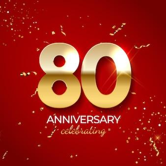 結婚記念日のお祝いの装飾紙吹雪のきらめきとストリーマーを備えたゴールデンナンバー80