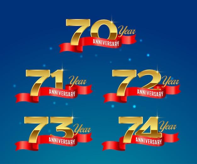 Юбилей празднования золотой логотип с лентой