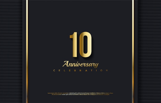 Anniversary celebration number with the number 10 in gold in a luxurious background.