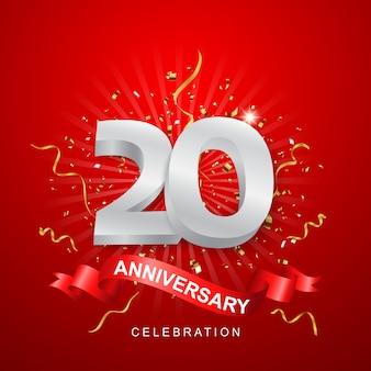 Празднование годовщины с золотым конфетти на красном фоне