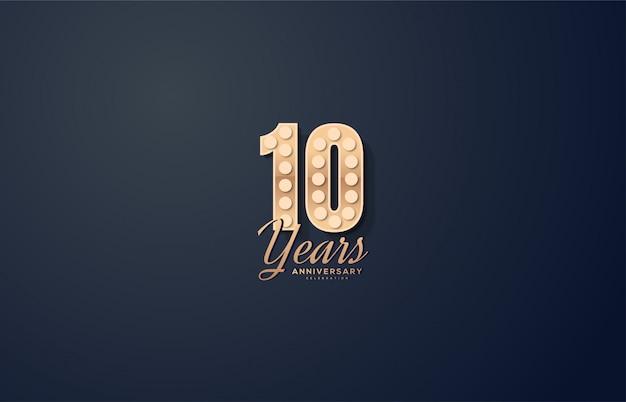 Празднование годовщины с золотыми фигурами с круговой подсветкой иллюстрации.