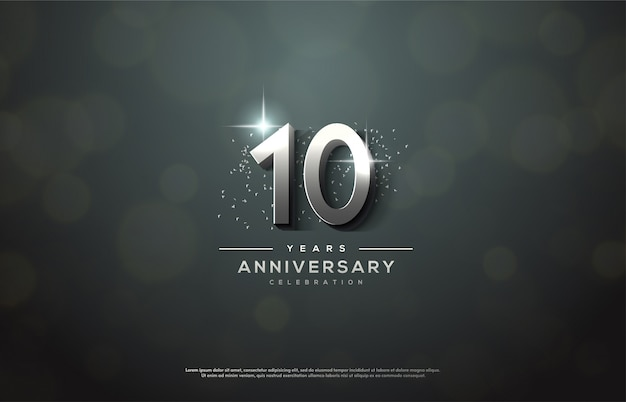 Anniversary celebration with  silver numbers.
