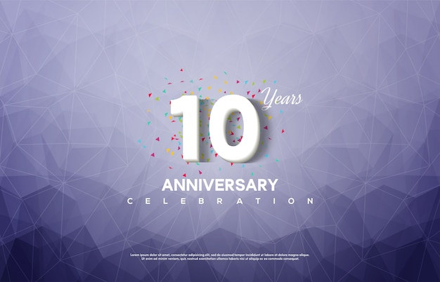 Anniversary celebration with white numbers on a blue abstract background.