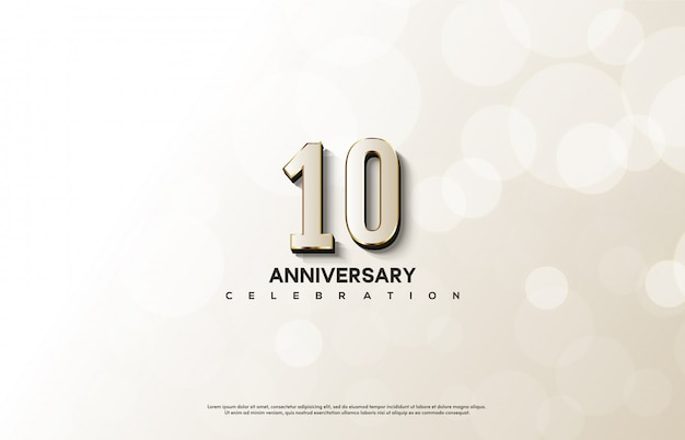 Anniversary celebration with white numbers with elegant gold lines.