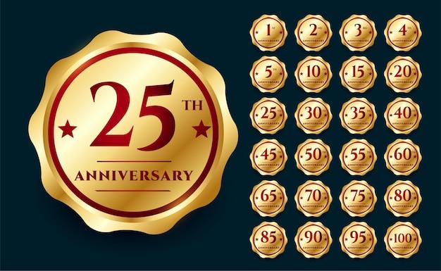 Set di badge per etichette per cerimonie di anniversario