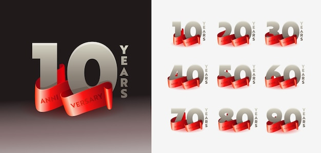 Anniversary congratulation 3d numbers template