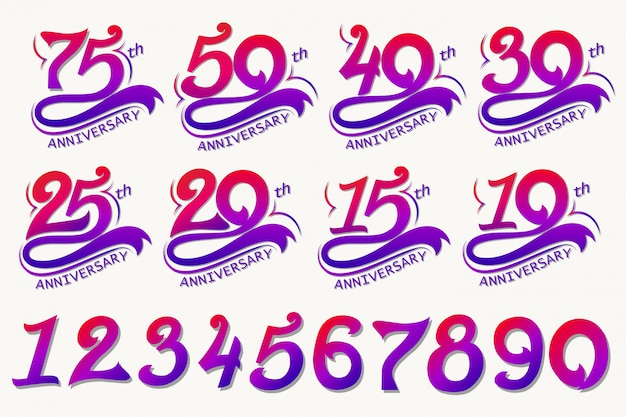 Anniversary design, 75th years template celebration sign.